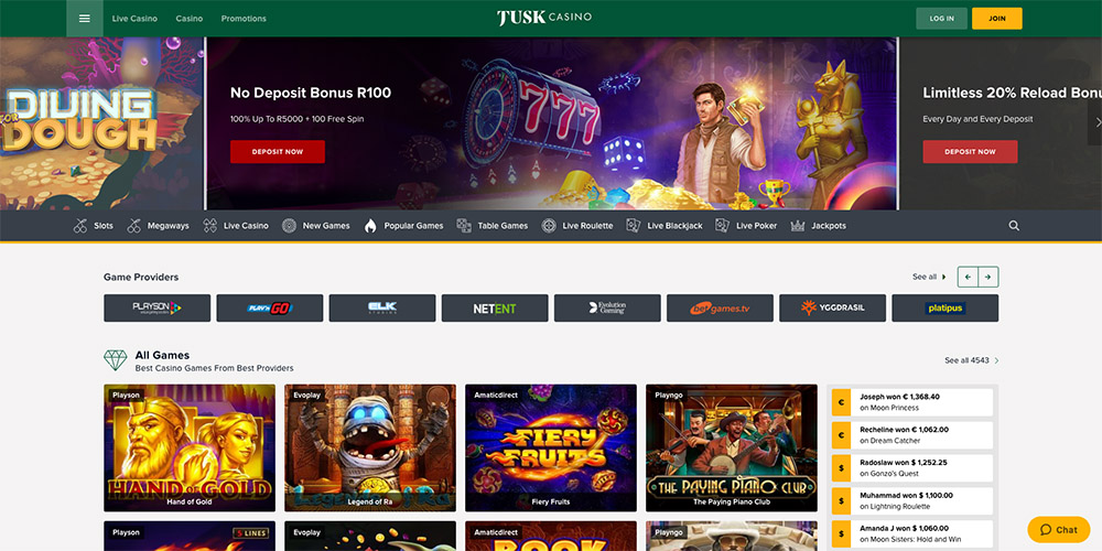 Tusk casino front page